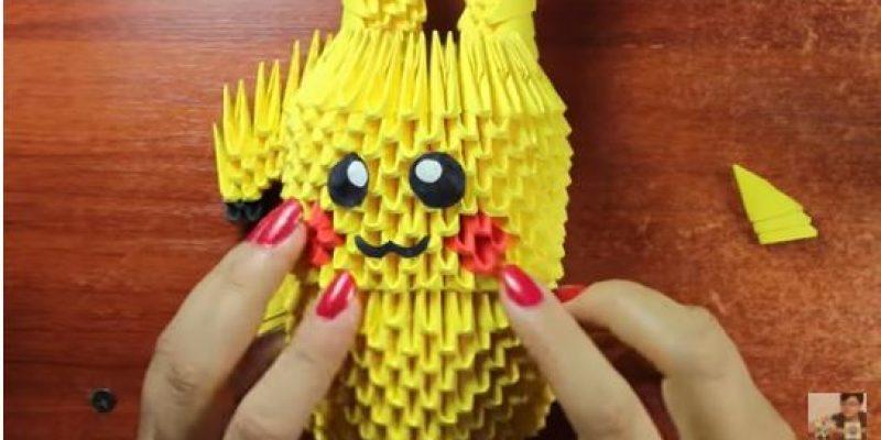 Pikachu de Origami 3D