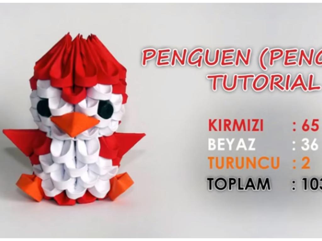 Pingüino de Origami 3D