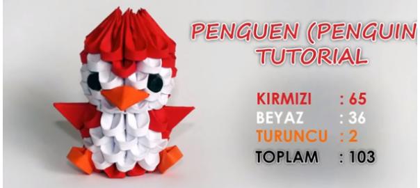 origami 3d pinguino